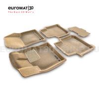Текстильные 3D коврики Euromat3D Business в салон для Skoda Kodiaq (2017-) № EMC3D-004512T Бежевые